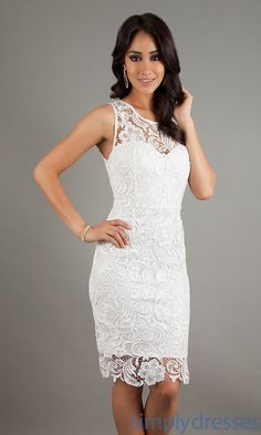 Dress, Sleeveless White Lace Knee Length Dress - Simply Dresses