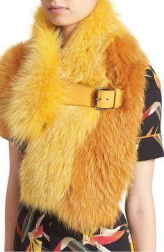 Fendi Leather Trim Bicolor Genuine Fox Fur Stole  0fb5932dba5