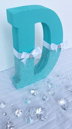 Tiffany Blue Theme, Tiffany Blue Glitter Letter, Aqua Glitter Letter, Nursery Decor … - Home Page Bridal Shower Centerpieces, Bridal Showers, Tiffany Blue Centerpieces, Tiffany Blue Decorations, Winter Centerpieces, Table Centerpieces, Tiffany Blue Party, Tiffany Theme, Diy