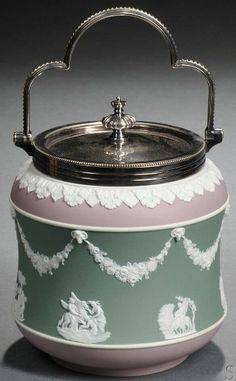 Wedgwood; Jasper BISCUIT JAR (aka cookie jar in America). At first, I believed it to be a tea canister. It's so elegant I'd be afraid to use it!