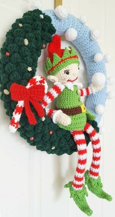 Excited to share the latest addition to my #etsy shop: Handmade crochet Christmas wreath - Elf http://etsy.me/2jImhG5 #housewares #homedecor #green #christmas #blue #entryway #elf #wreath #crochet