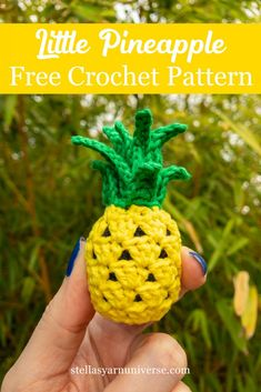 This little pineapple is another part of my fruit basket series. I have a free crochet pattern in British and U. terms, as well as the video tutorial! You can use this pattern in many fun ways! Simply crochet the pineapple as decoration, or play food, Crochet Fruit, Pineapple Crochet, Crochet Food, Crochet Crafts, Crochet Dolls, Crochet Yarn, Yarn Crafts, Crochet Flowers, Crochet Projects