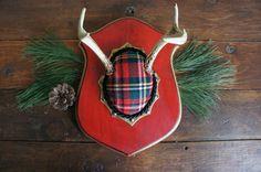 Vintage Deer Antler Mount Red Christmas Plaid