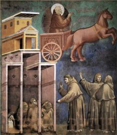 Giotto  Vision of the Flaming Chariot  1297-1299  San Francesco, Upper Church, Assisi, Italy