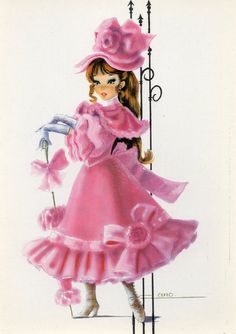 Vintage Postcard 70's Pink dress by Cano