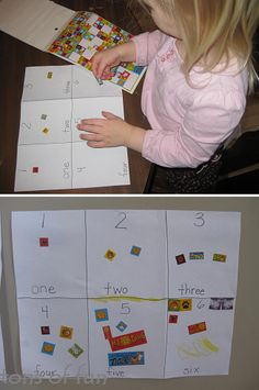 Math Center Idea - easy, cheap, and the kids love stickers. May do this with stamps:)