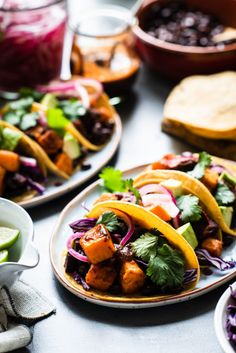 Spice up taco night with Chipotle-Spiced Sweet Potato Tacos! These vegetarian tacos are loaded with hearty, nutritious roasted sweet potatoes & black beans! Vegetarian Tacos, Vegan Chipotle, Vegetarian Recipes, Healthy Recipes, Vegetarian Mexican, Avocado Recipes, Salad Recipes, Healthy Food, Healthy Eating