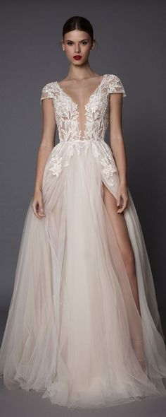 muse berta fall 2017 bridal cap sleeves deep plunging v neck heavily embellished bodice lace tulle skirt high side slit romantic sexy a line wedding dress open low back sweep train (antonia) mv -- Muse by Berta Fall 2017 Wedding Dresses Best Wedding Dresses, Bridal Dresses, Wedding Gowns, Prom Dresses, Bridesmaid Dresses, Evening Dresses, Tulle Wedding, Blush Lace Wedding Dress, Blush Evening Dress