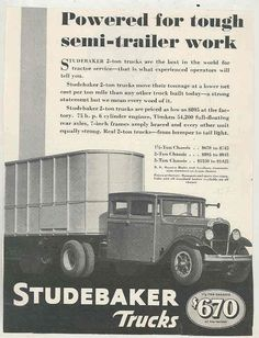 1932 Studebaker Tractor Trailer Truck Ad ws2282-LRZZF7