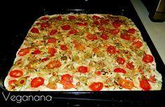 Veganana: Focaccia com Tomate Cereja e Azeitonas