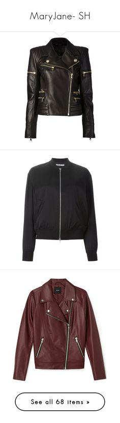 """MaryJane- SH"" by inestrindade on Polyvore featuring outerwear, jackets, leather jacket, tops, coats, black, padded leather jacket, genuine leather biker jacket, balmain jacket and motorcycle jacket"