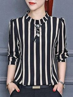 Vertical Striped Chiffon Blouse - Outfit of the day Look Fashion, Fashion Outfits, Fashion Design, Fashion Clothes, Womens Fashion, Fashion Ideas, Fashion 101, Cheap Fashion, Dress Fashion