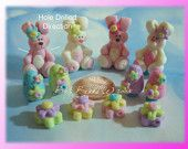 Easter Bunny Set Polymer Clay Bead Cham by rainbowdayhappy