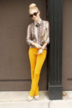 92360b730327 Gotta love yellow pants and Snakeskin shirt. <3 Bright Pants, Yellow  Pants