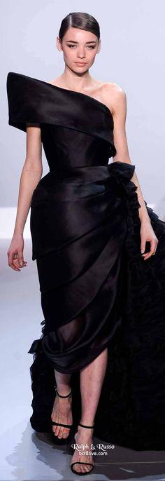 Ralph & Russo Spring 2014 HC   Black silk gazar gown with asymmetric peplum and ruffle side bustle
