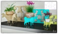 COW FLOWERPOT STAND -  template cutting file - Plot plants planter garden flower - cnc and laser machine plans pot supports