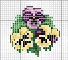 Pansy x-stitch pattern Kawaii Cross Stitch, Tiny Cross Stitch, Cross Stitch Boards, Cross Stitch Needles, Cross Stitch Flowers, Cross Stitch Designs, Cross Stitch Patterns, Cross Stitching, Cross Stitch Embroidery