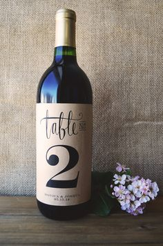 Wine Table Number - Wine Bottle Table Number  - Wedding Wine Table Number - Wedding Wine Bottle Table Number - Pack of 4 Labels#affiliate
