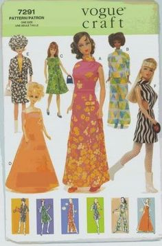 Herbie's Doll Sewing, Knitting & Crochet Pattern Collection: Vogue number 7291 - 1960s Barbie and Francie Sewin...