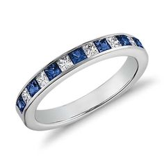 Channel Set Princess Cut Sapphire and Diamond Ring in 14K White Gold