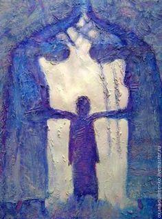 """Фантазийные сюжеты ручной работы. Ярмарка Мастеров - ручная работа. Купить """"Одухотворение"""". Handmade. Синий, семья, картина, акрил"""