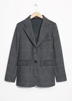 & Other Stories image 1 of Wool Blend Checked Blazer in Grey