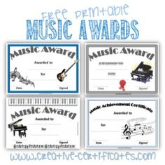 Free printable music award certificates, Many more printable awards on this site.