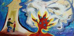 """Τίτλος έργου: «Το πρώτο σου χρέος, εχτελώντας τη θητεία σου στη ράτσα, είναι να νιώσεις μέσα σου όλους τους προγόνους… Δέντρο φωτιά γίνεται ολομεμιάς το Σύμπαντο.»  60x30cm, λάδι σε καμβά (τετράπτυχο). 4. Project Title: """"Your first duty, using your term in the breed, is to feel all of your ancestors within you ... Tree fire is done at once the Universe."""" 60x30cm oil on on canvas (Tetraptych)."""