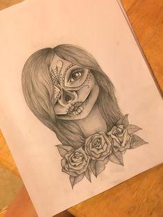 Sugar skull girl. Artist Shelby Kemp, Instagram @shelbyrkemp