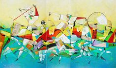 Meditation Series - Flash Dance (Triptych) - Original Mixed Media On Canvas x inches. By David Schluss International Artist, Contemporary Landscape, Triptych, Mixed Media Canvas, Meditation, David, Fine Art, Abstract, Gallery
