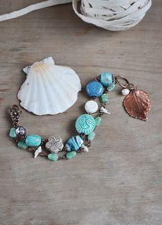 Blue turquoise beaded bracelet electroformed leaf от ChechelArt