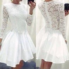 Elegant Long Sleeve Round Neck Slim Fit Lace