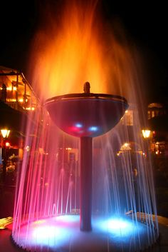 fountain Fountain Lights, Water Movement, Beauty Water, By Any Means Necessary, Small Ponds, Living Water, Neon Glow, Light My Fire, Peaceful Places