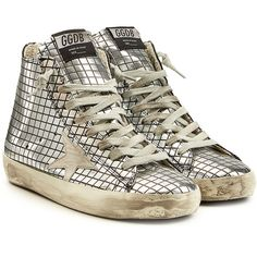 Golden Goose Francy Metallic Leather High-Top Sneakers ($315) ❤ liked on Polyvore featuring shoes, sneakers, silver, leather high tops, metallic sneakers, metallic high top sneakers, metallic silver sneakers and lace up shoes