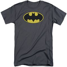 BATMAN/CLASSIC BAT LOGO-S/S ADULT TALL-CHARCOAL