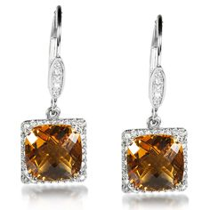 November Gemstone. Be the one to own this pair of one-of-a-kind citrine and diamond earrings. Crafted of shimmering sterling silver, these earrings showcase 2 large cushion-cut citrine gemstones of 5