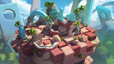 ArtStation - De-formers level design, Sylvain Sarrailh Game Environment, Environment Concept Art, Environment Design, Game Level Design, Game Design, Design Art, 3d Modellierung, Isometric Art, Landscape Concept