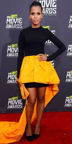 This week in color - Kerry Washington went for bold color and cut in her black and yellow number while attending the MTV Movie Awards