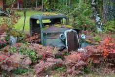 rusty truck garden feature