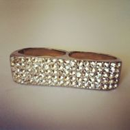 Anel Duplo Strass 60`s