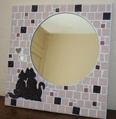 Mosaique miroir miroir mosaique atelier de samantha chat miroir rond tesselle verre chat amoureux couple chat etoiles creation unique creation artisanale mosaique artisanale 1