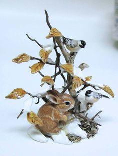 2001 Mary McGrath Bird Bunny Rabbit Sculpture Dollhouse Miniature Mini (L)