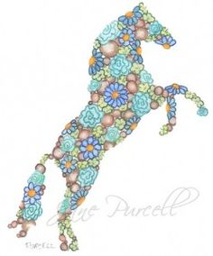 Flower horse art - Floral Animal Silhouettes