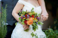 Bright Colorful Bouquet. Dahlia's, Veronica, Scabiosa, Zinnias, Hops.  www.forestandfieldcreative.com