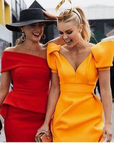 I like the red dress so classy Elegant Dresses, Cute Dresses, Beautiful Dresses, Short Dresses, Cute Outfits, Mori Fashion, Fashion Dresses, Womens Fashion, Yellow Dress