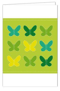 Klappkarte Schmetterlingsgrüße zum Prickeln - Grün