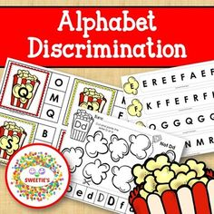 Alphabet Discrimination - Popcorn Theme This activity package has 3 separate activities for alphabet discrimination. Clip Cards - Print, laminate, and cut to use. Make them self-correcting by placing a dot on the back for the correct answer. 4 cards per Letter Activities, Kindergarten Activities, Educational Activities, Learning Resources, Classroom Resources, Kindergarten Classroom, Classroom Themes, Teaching Toddlers Abc, Teaching Ideas