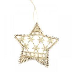 Metallic Hanging Star Snowflake 13 cm
