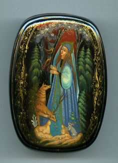 """Russian Lacquer Box Style Kholui """" Forest Fairy"""" Hand Painted 