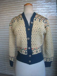 Shop for on Etsy, the place to express your creativity through the buying and selling of handmade and vintage goods. Hand Knitted Sweaters, Cozy Sweaters, Sweaters For Women, 1940s Inspired Fashion, Fair Isle Pattern, High Fashion, Womens Fashion, Knit Cardigan, Hand Knitting